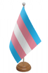 Transgender Pride (pink/blue) Desk / Table Flag with wooden stand and base